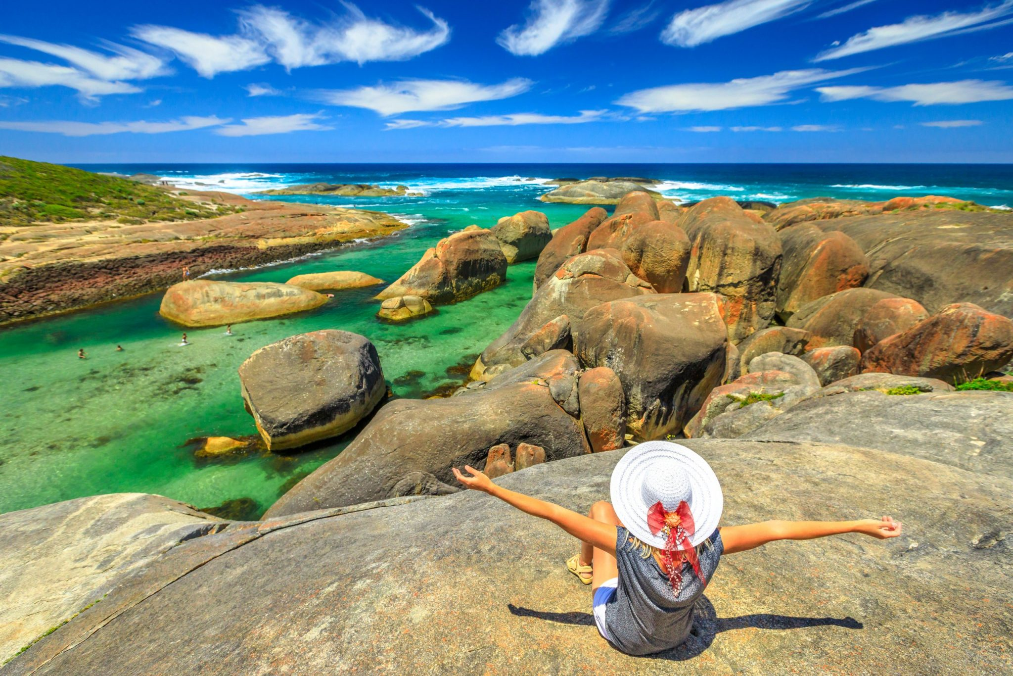 Woman at Elephant Rocks Australia
