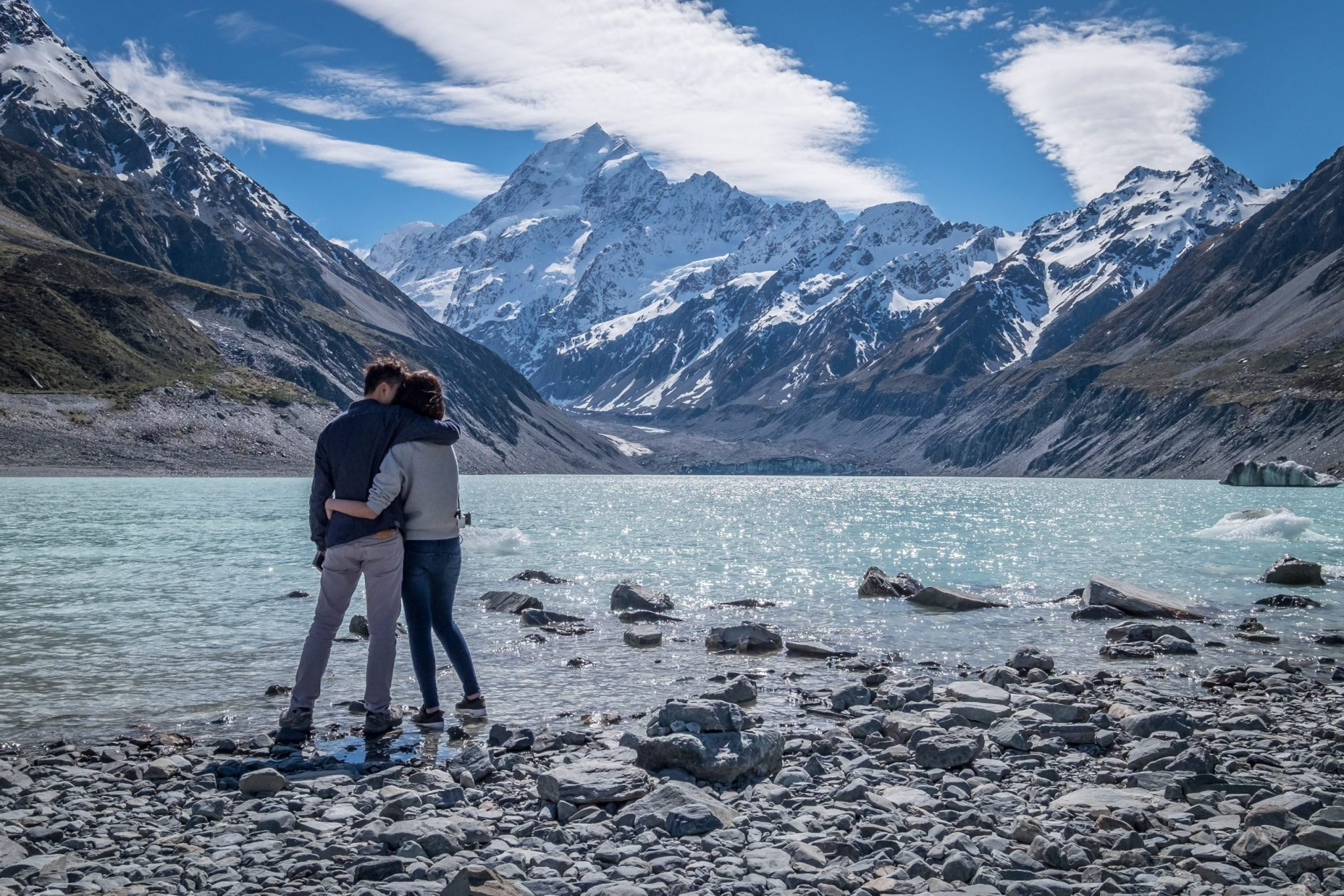 Couple visits Mount Cook, Canterbury, New Zealand