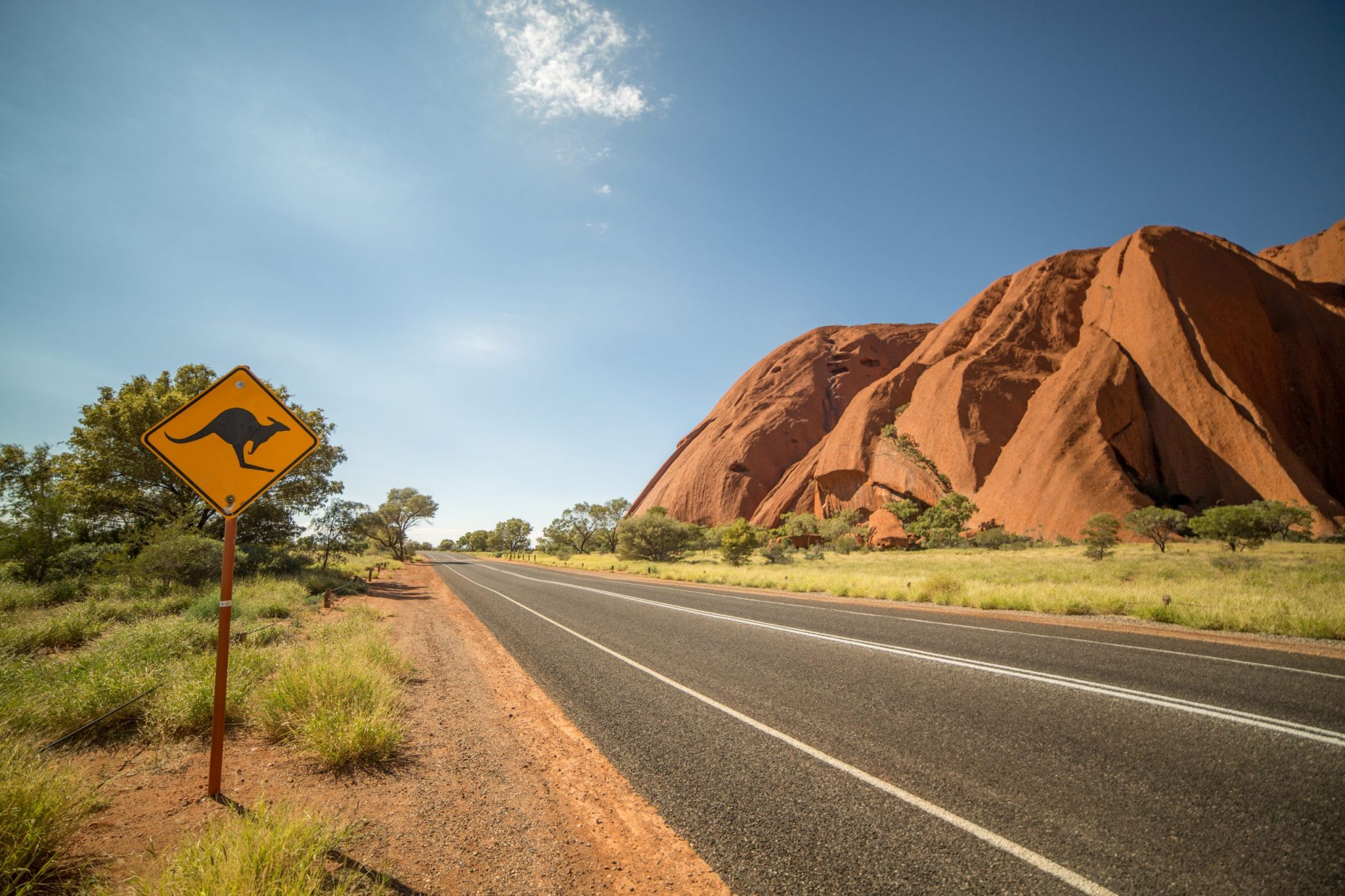 Kangaroo warning sign in the outback, Australia
